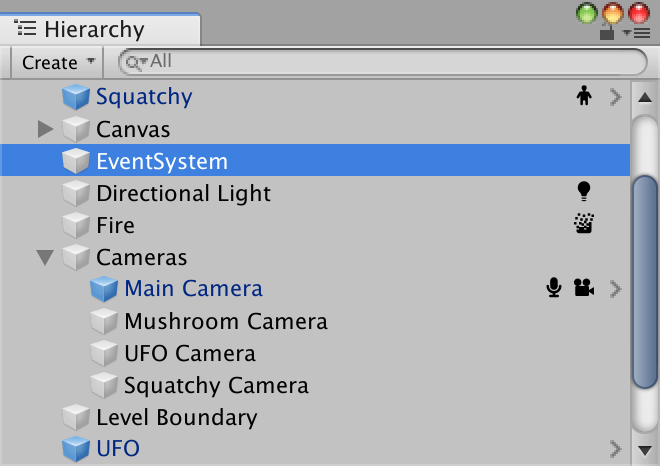 Unity Hierarchy window with icons