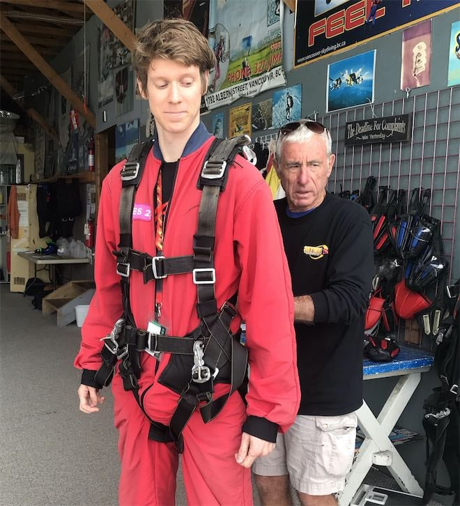 Skydiving suit up