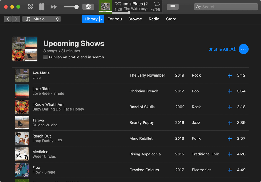 Upcoming shows playlist in iTunes